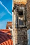Demolished house, new house Royalty Free Stock Images