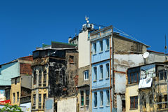 Demolished houses. In Istanbul under blue sky Stock Photos