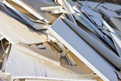 Demolished plasterboard panel - image with copy space stock photos