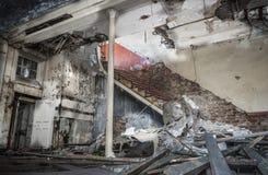 Demolished Room. A room in a part demolished old building Stock Images
