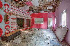 Demolished room with pink walls Stock Image