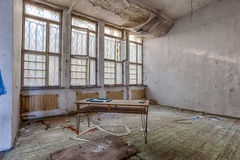 Demolished room with wooden floors Royalty Free Stock Images