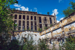 Demolished ruined abandoned factory buildings. In Efremov, Russia Stock Photography