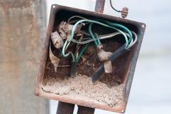 Demolished switchboard. Demolished and broken switchboard. Closeup Stock Photos