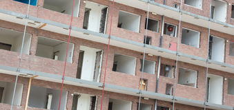 Demolishing a block of flats stock image