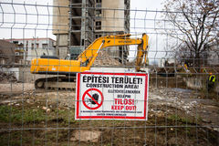 Demolishing the 25 floor building Royalty Free Stock Photography