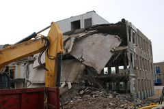 Demolitian urząd miasta zarząd miasta który był Zuidplas Zdjęcia Royalty Free