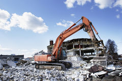 Demolition. Machinery at a demolition site royalty free stock photos