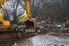 Demolition. House was demolished after county warned owner that home was a hazard and was considered abandoned stock photography