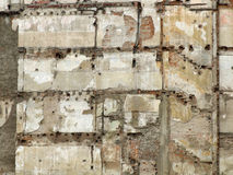 Demolition. Ruined wall surface after demolition of a part of an old tenement in Milan, Italy. Bricks, stairs, paint Royalty Free Stock Photography