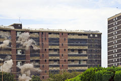 Demolition. Implosion of a 1960s building in Sighthill, Edinburgh Royalty Free Stock Photo
