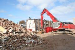 Demolition. Bulldozer at urban renewal construction site stock photography