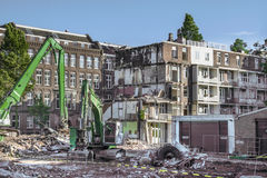 Demolition in Amsterdam. Demolition of pre-war homes in Amsterdam Stock Photo