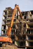 Demolition of an apartment block Royalty Free Stock Photography