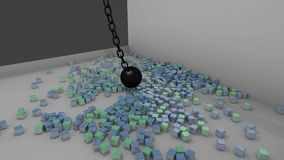 Demolition ball exploding lots of cubes stock footage