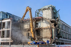 Demolition of a bank building German Sparkasse in Bayreuth Stock Photos