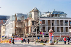 Demolition of a bank building German Sparkasse in Bayreuth Stock Photo