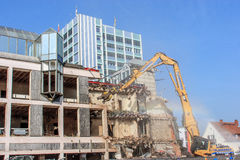 Demolition of a bank building German Sparkasse in Bayreuth Royalty Free Stock Image