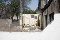 Demolition of building. Showing bathroom and rubble Stock Photos