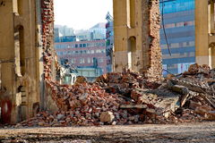 Demolition of a building Royalty Free Stock Images