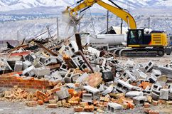 Demolition of Building Collapse Bricks Wall Stock Image