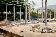 Demolition of a building with concrete floors and pillars, old house.  Stock Photo
