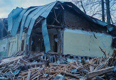 The demolition of building, destruction and ruins Stock Photo