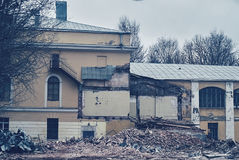 The demolition of building, destruction and ruins Royalty Free Stock Photo