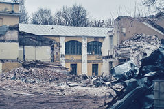 The demolition of building, destruction and ruins Stock Images