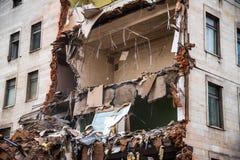 Demolition of a building with floors fragment. Destroyed structure, broken floors. Demolition of a building with floors fragment Royalty Free Stock Images