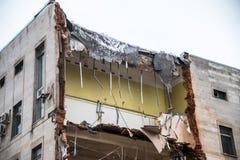Demolition of a building with floors fragment. Destroyed structure, broken floors. Demolition of a building with floors fragment Stock Photography