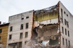 Demolition of a building with floors fragment. Destroyed structure, broken floors. Demolition of a building with floors fragment Royalty Free Stock Photos