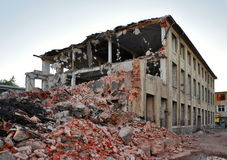 Demolition of building. Demolition of industrial building in the Czech Republic Royalty Free Stock Image
