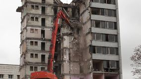 Demolition of buildings timelapse Stock Photos