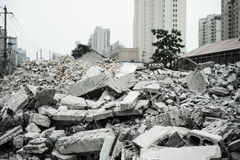 Demolition of buildings in urban environments Royalty Free Stock Photo