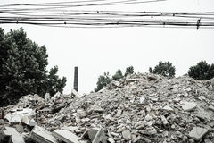 Demolition of buildings in urban environments Royalty Free Stock Image