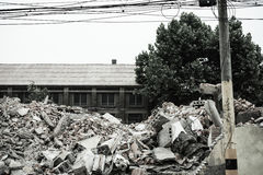 Demolition of buildings in urban environments Royalty Free Stock Images