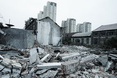 Demolition of buildings in urban environments Stock Image