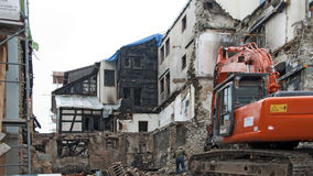 Demolition of a burnt-out ruin in Constance #3 Stock Photo