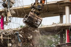 Demolition of a concrete building Stock Images