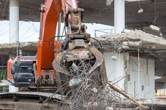 Demolition of a concrete building Royalty Free Stock Photo
