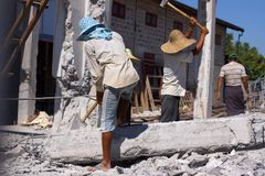 Demolition of concrete house in village near Inle lake in Burma, Asia royalty free stock photos