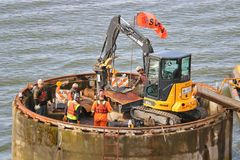 Demolition Crew and Industrial Equipment Royalty Free Stock Images