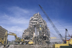 A demolition crew tearing down remnants from a bui stock photo