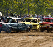 Demolition Derby. Cars at a demolition derby at RomuRing in Estonia royalty free stock image