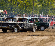 Demolition Derby. Cars at a demolition derby at RomuRing in Estonia stock photo