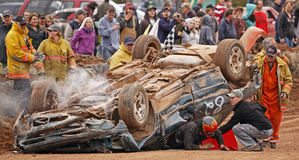 Demolition derby car driver escapes Stock Photos