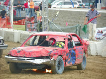 Demolition Derby Car on Fire Royalty Free Stock Images