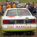 Demolition derby car just married Royalty Free Stock Photos