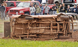 Demolition derby car overturn. A car overturns during a race at a demolition derby on September 11, 2010 in Norton, Canada Stock Photos